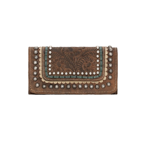American West Blue Ridge Ladies' Tri-fold Wallet Distressed Charcoal Brown / Sand / Turquoise