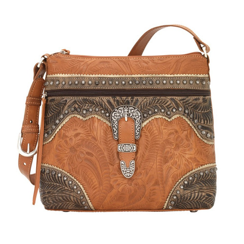 American West Saddle Ridge Zip Top Shoulder Bag Golden Tan / Distressed Charcoal Brown / Sand