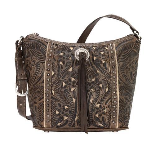 American West Hill Country Zip Top Bucket Tote Distressed Charcoal Brown / Sand