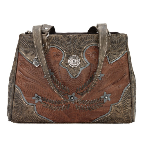 American West Desert Wildflower Multi-compartment Organizer Tote Antique Brown/ Distressed Charcoal Brown/ Sky Blue