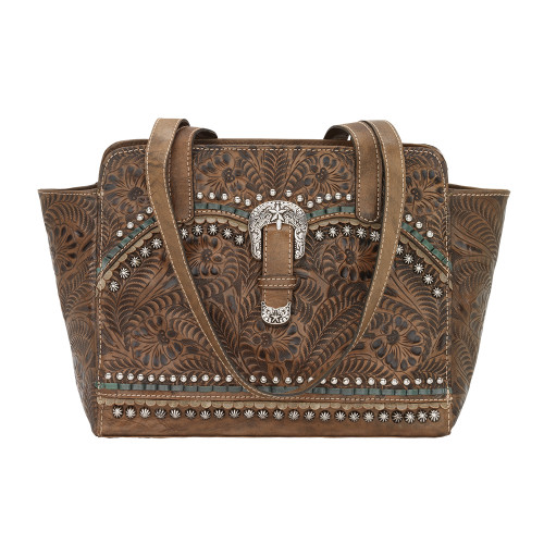 American West Blue Ridge Zip Top Tote with secret compartment - Distressed Charcoal Brown