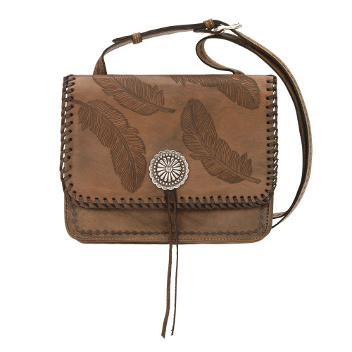 American West Sacred Bird Multi-Compartment Crossbody Flap Bag - Distressed Charcoal Brown