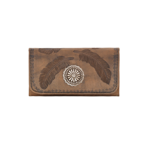 American West Sacred Bird Ladies' Tr-Fold Wallet - Distressed Charcoal Brown