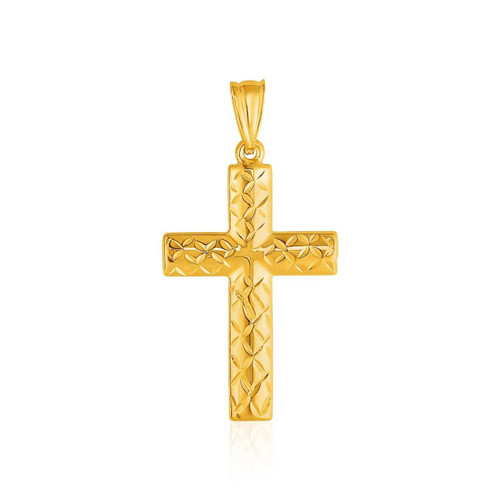 14K Yelllow Gold Reversible Textured Cross Pendant