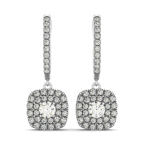 Double Halo Style Cushion Outer Shaped Diamond Drop Earrings in 14K White Gold (3/4 ct. tw.)