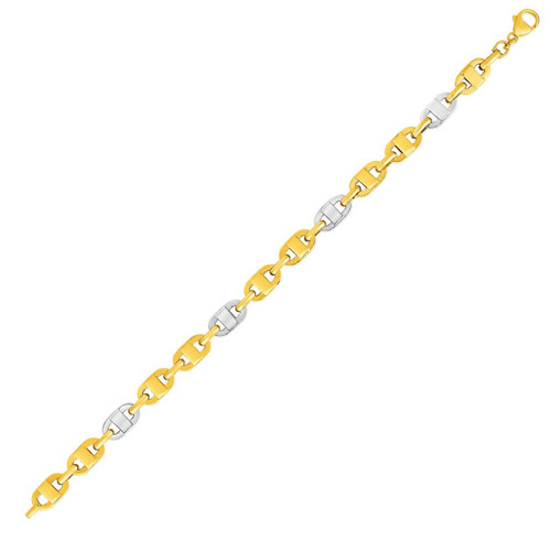 14K Two-Toned Yellow and White Gold Mariner Motif Link Bracelet
