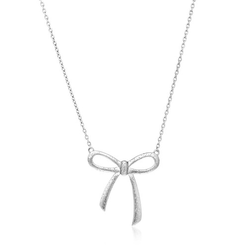 Sterling Silver Bow Design Necklace with Diamond Dust