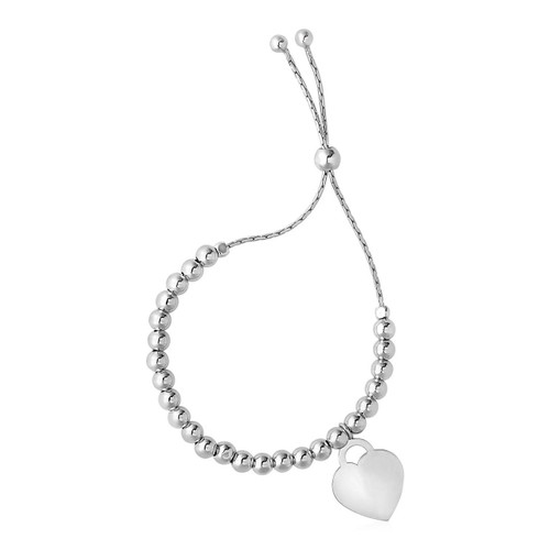 Adjustable Shiny Bead Bracelet with Heart Charm in Sterling Silver