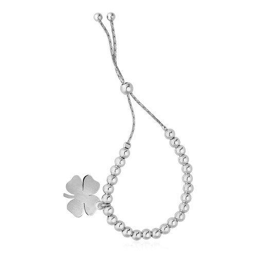 Adjustable Shiny Bead Bracelet with Four Leaf Clover Charm in Sterling Silver