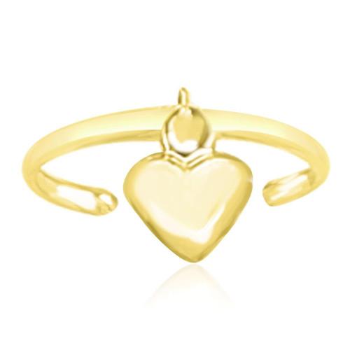 14K Yellow Gold Cuff Puffed Heart Toe Ring