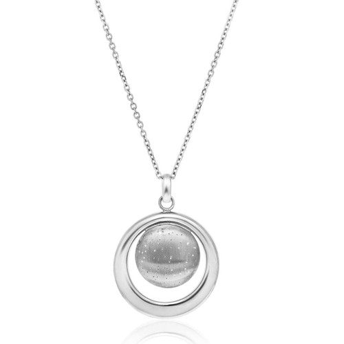 Sterling Silver Open and Diamond Dust Circle Modern Pendant