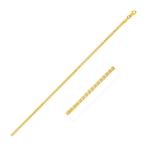 2.0mm 14K Yellow Gold Semi Solid Box Chain