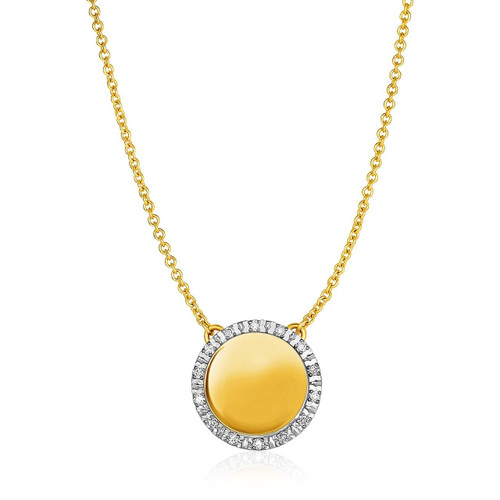 14K Yellow Gold Necklace with Round Engraveable Diamond Pendant (1/10 ct. tw.)
