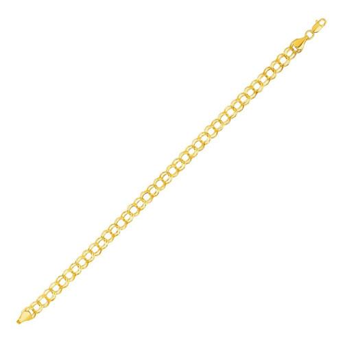 Double Interlocking Link Bracelet in 10K Yellow Gold