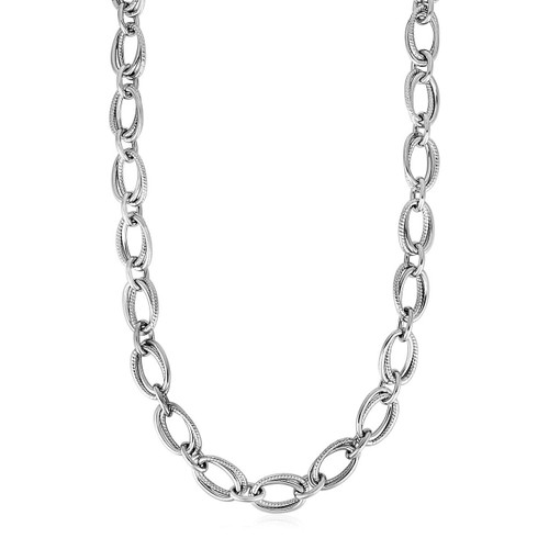 Polished and Textured Oval Link Necklace in Sterling Silver - 26550-18
