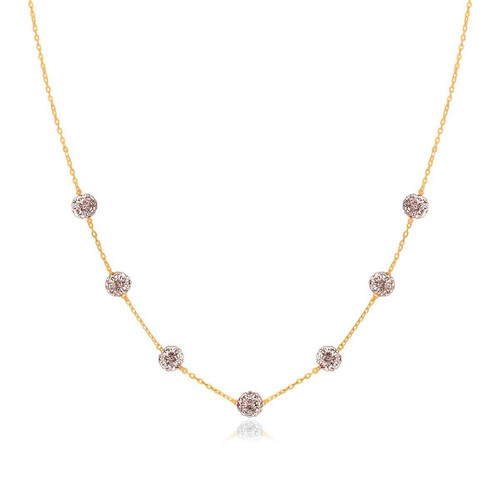 14K Yellow Gold Necklace with Crystal Embellished Sphere Stations - 65353-18
