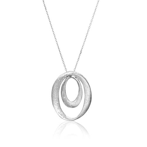 Sterling Silver Diamond Dust Dual Open Oval Design Pendant