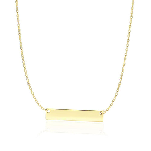 14K Yellow Gold Smooth Flat Horizontal Bar Style Necklace