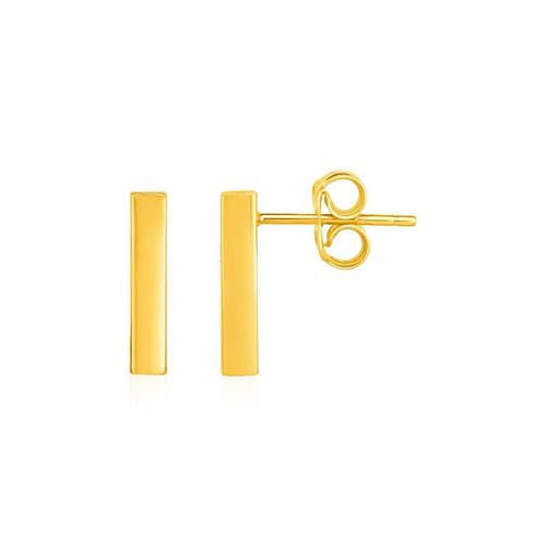 Bar Post Earrings in 14K Yellow Gold