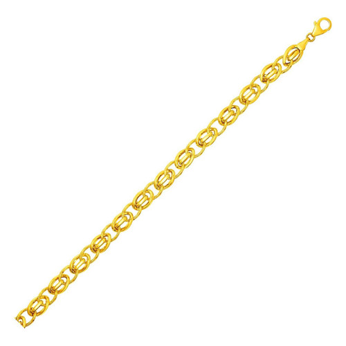 Bracelet with Oval and Twisted Interlocking Links in 14K Yellow Gold 7.5 inches
