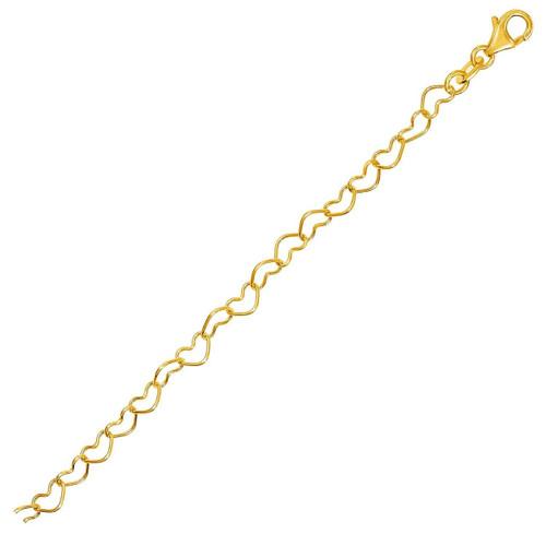 14K Yellow Gold Open Heart Link Bracelet