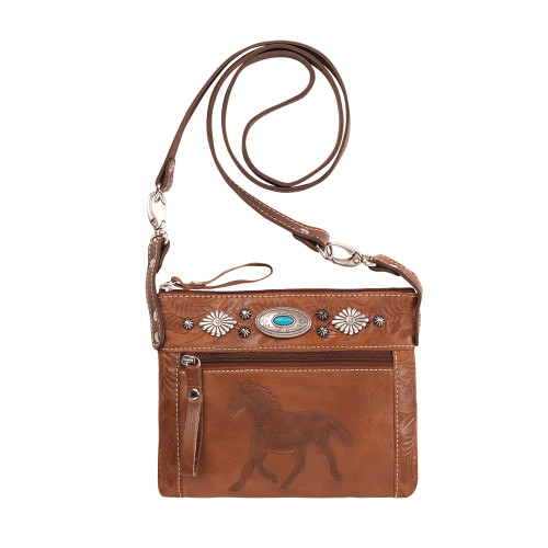 American West Trail Rider Hip and Crossbody Bag -Antique Brown/Chestnut Brown