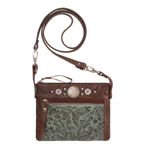 American West Trail Rider Hip and Crossbody Bag -Chestnut Brown/Turquoise