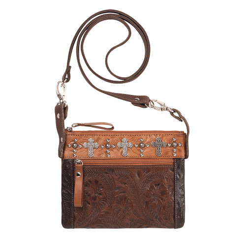 American West Trail Rider Hip and Crossbody Bag -Chestnut Brown/Chocolate/Golden Tan