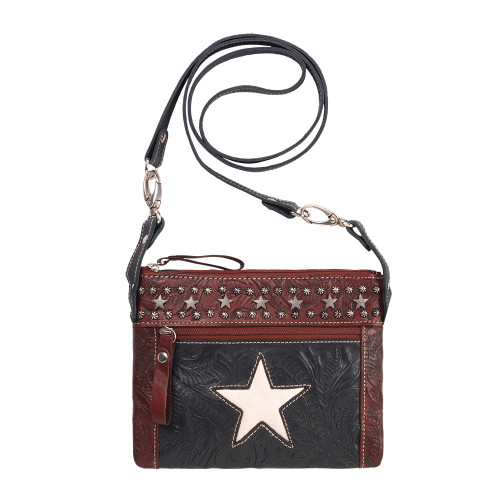 American West Trail Rider Hip and Crossbody Bag -Navy Blue/Distressed Crimson/White