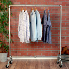Industrial Pipe Rolling Clothing Rack | Galvanized