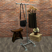 Industrial Pipe Clothing Rack | Galvanized | 2-Way