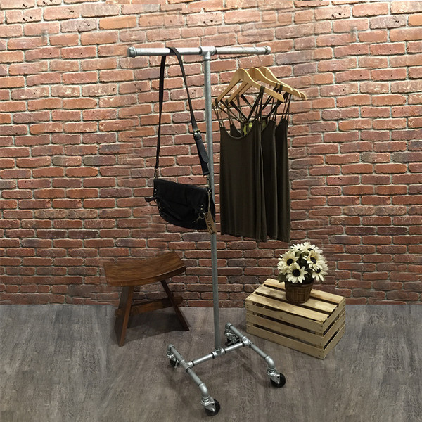 Industrial Pipe Rolling Clothing Rack | Galvanized | 2-Way