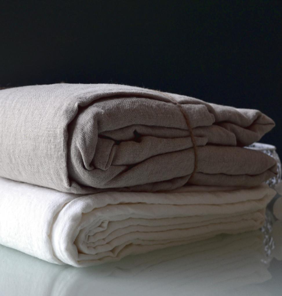 Luxurious linen Queen size top sheet, Natural flax colour