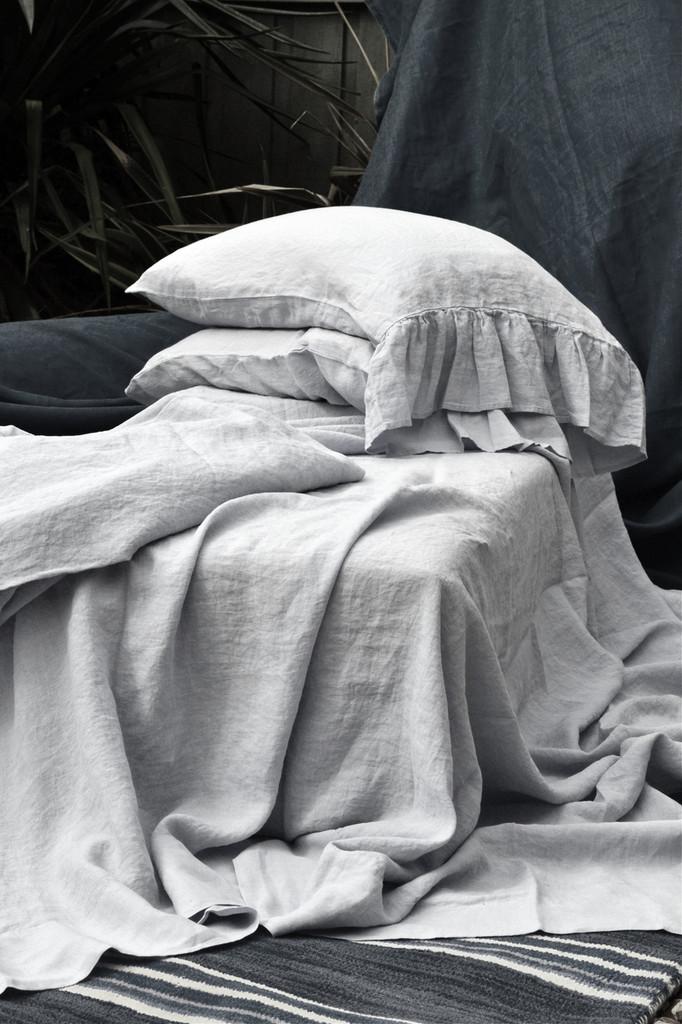 Luxurious light grey linen fitted sheet. All sizes
