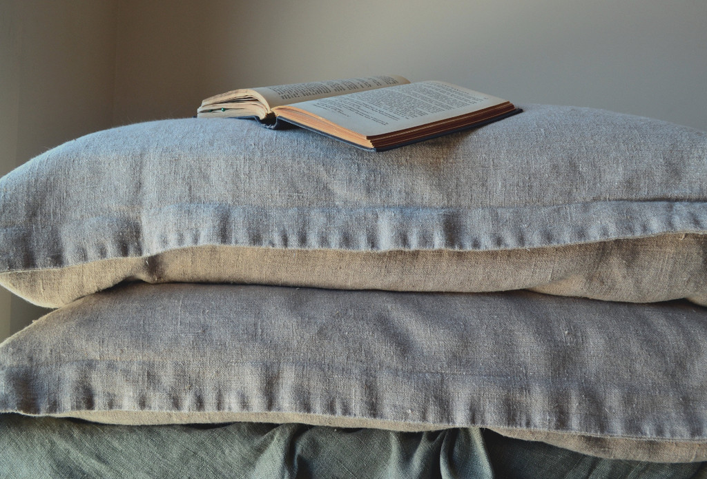 Natural Rustic Rough Stonewashed linen pillow cases set of 2