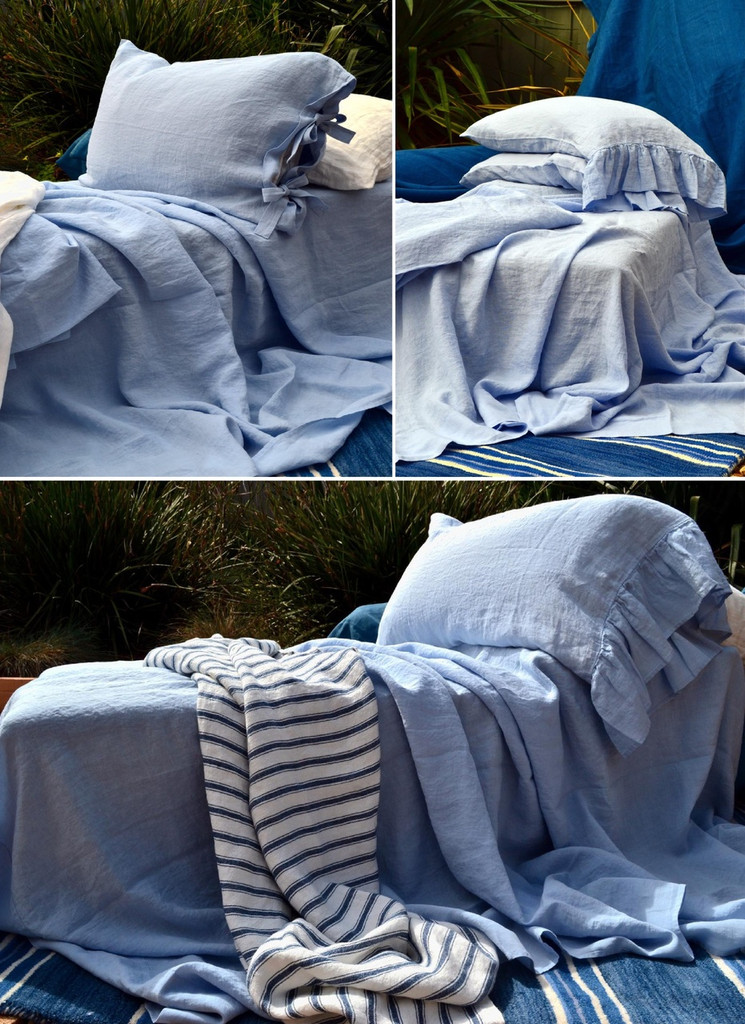 Luxurious stonewashed linen flat sheet, Sky blue