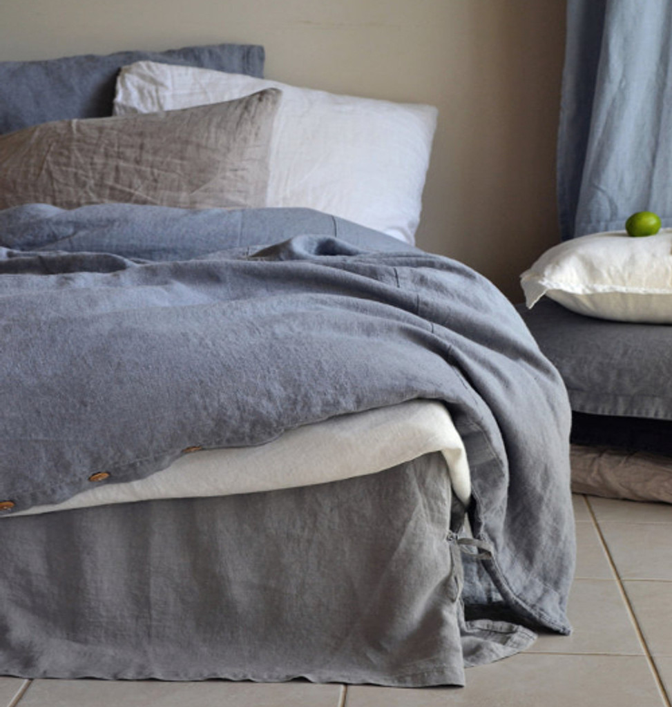 Dove Grey Stonewashed Linen Quilt Cover. Heavy Weight Rustic Linen ...