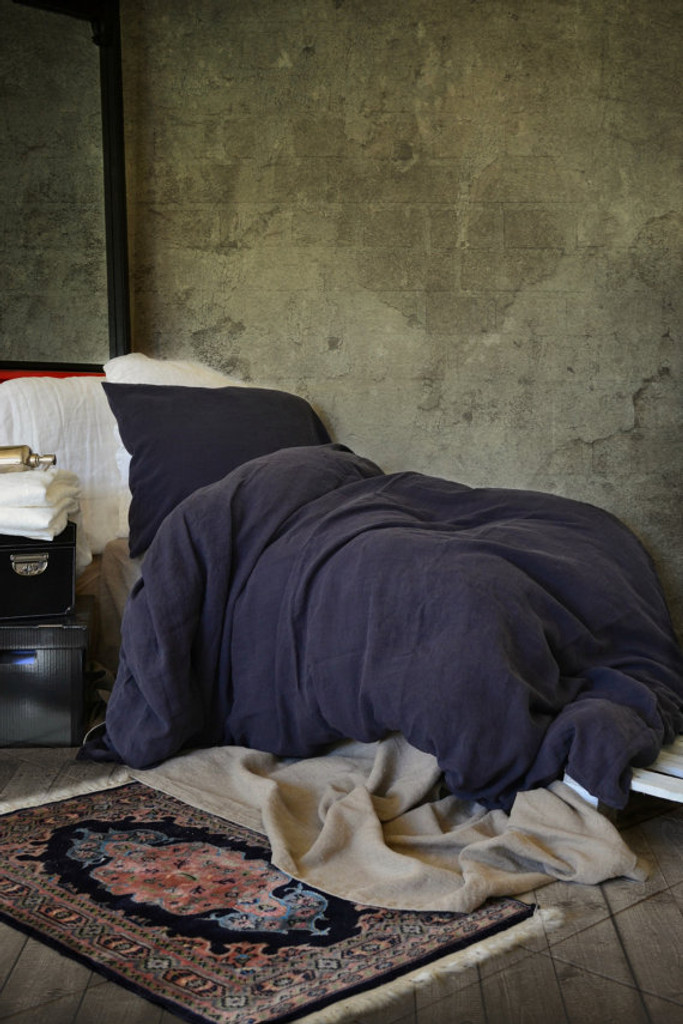 Midnight Blue stonewashed linen duvet/quilt cover