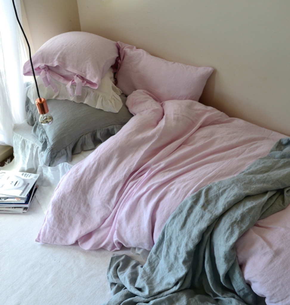 Dusty Pink stonewashed linen duvet cover