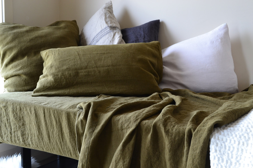 Olive green stonewashed linen pillow case