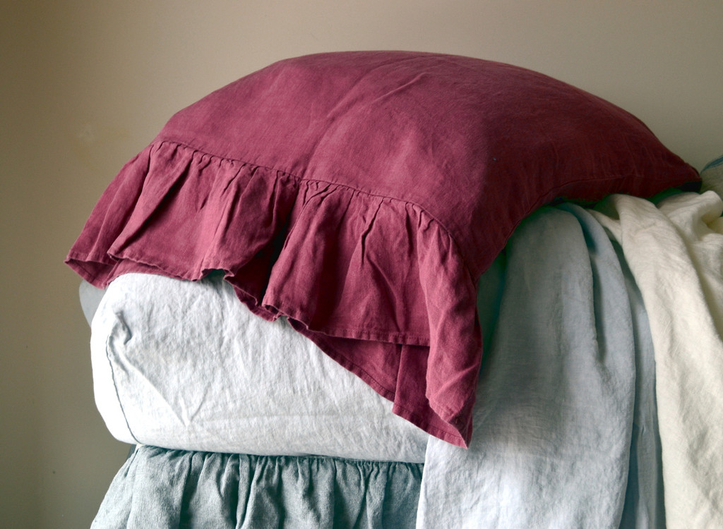 Marsala natural linen pillow case with ruffle
