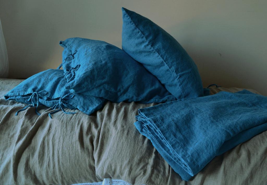 Dark Teal Rustic Heavy weight  linen pillow case with ties