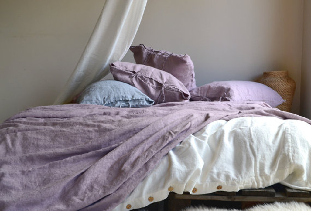 Faded Lilac Heavy weight  Rustic linen pillow case with ties