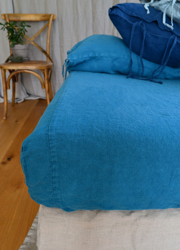 Teal Rustic heavy weight linen fitted sheet