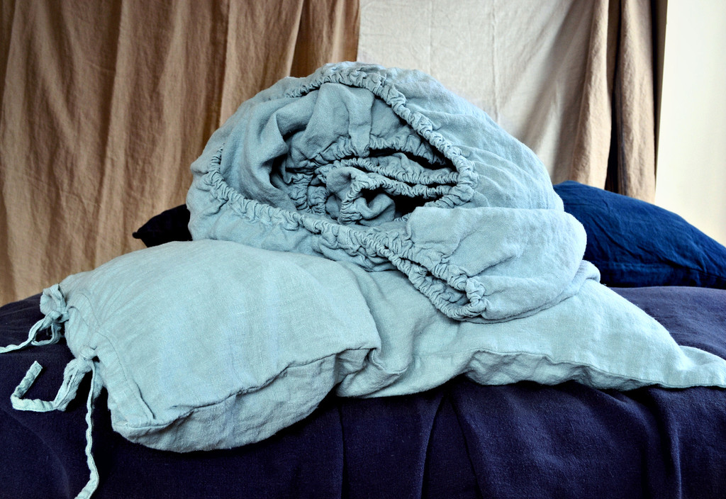 Duck Egg Blue heavy weight linen fitted sheet