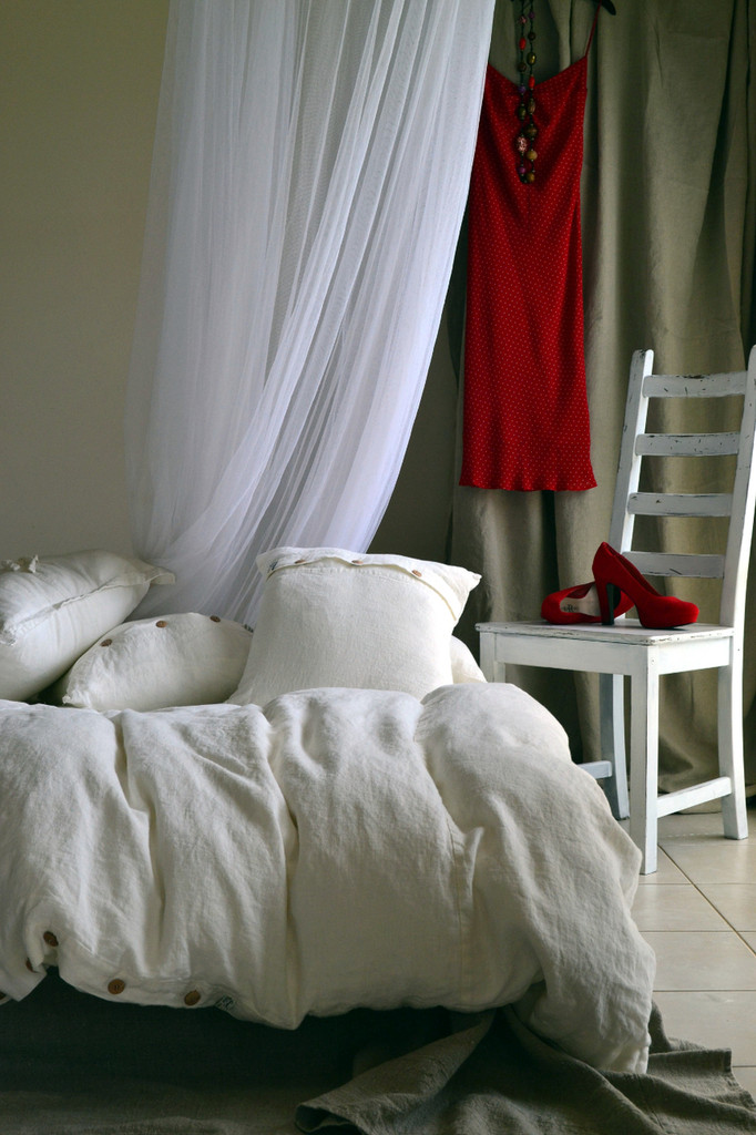 Rustic Rough White linen duvet cover