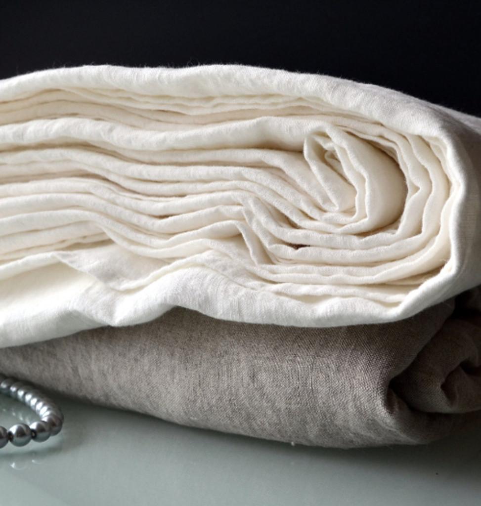 Luxurious Bright white linen sheet. Top/Flat sheet