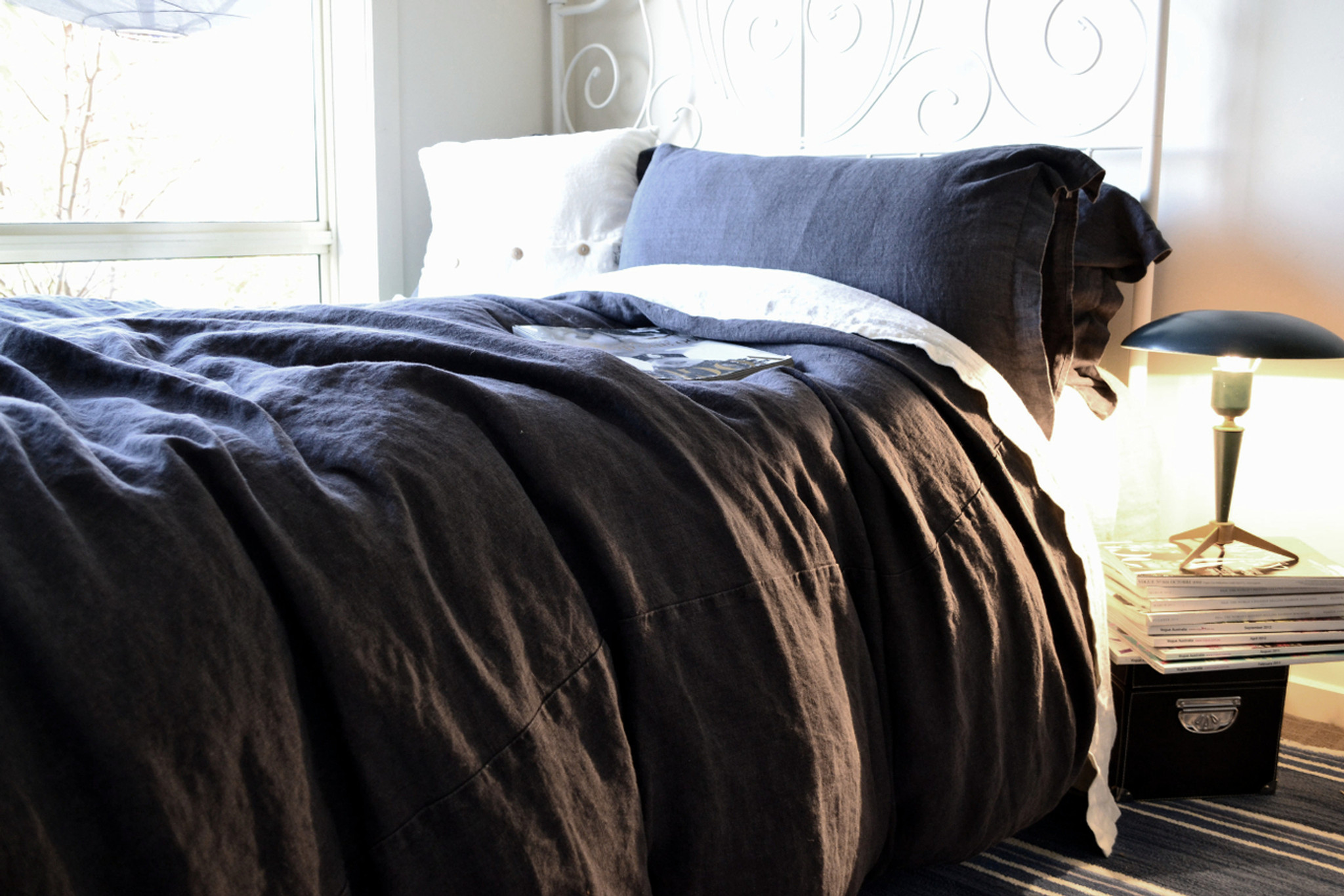 peppercorn dark grey rustic heavy weight linen duvet quilt cover. Black Bedroom Furniture Sets. Home Design Ideas