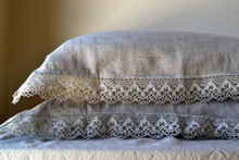 Provincial Living, natural softened linen pillow case with lace, Natural