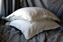 Natural Rustic Rough Ivory Linen Pillowcases, set of 2